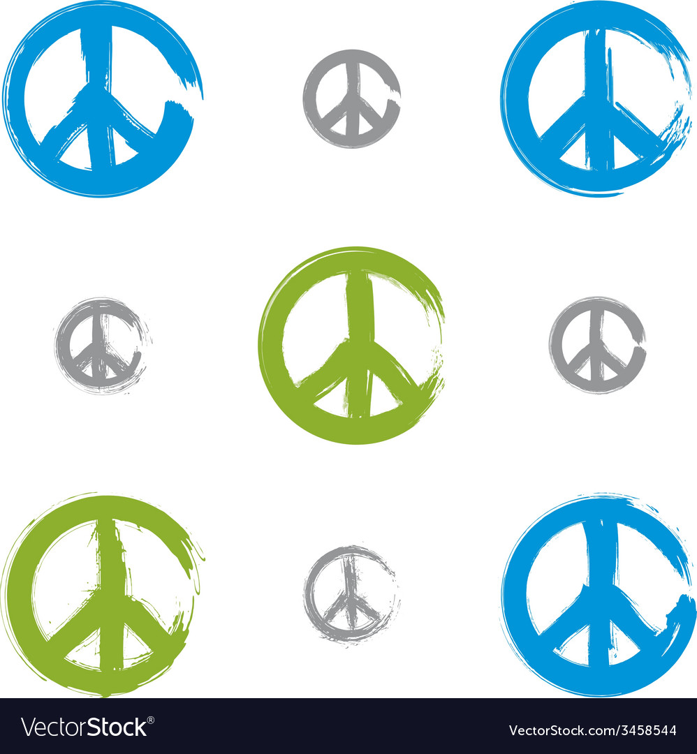 Set of hand drawn simple colorful peace icons vector | Price: 1 Credit (USD $1)