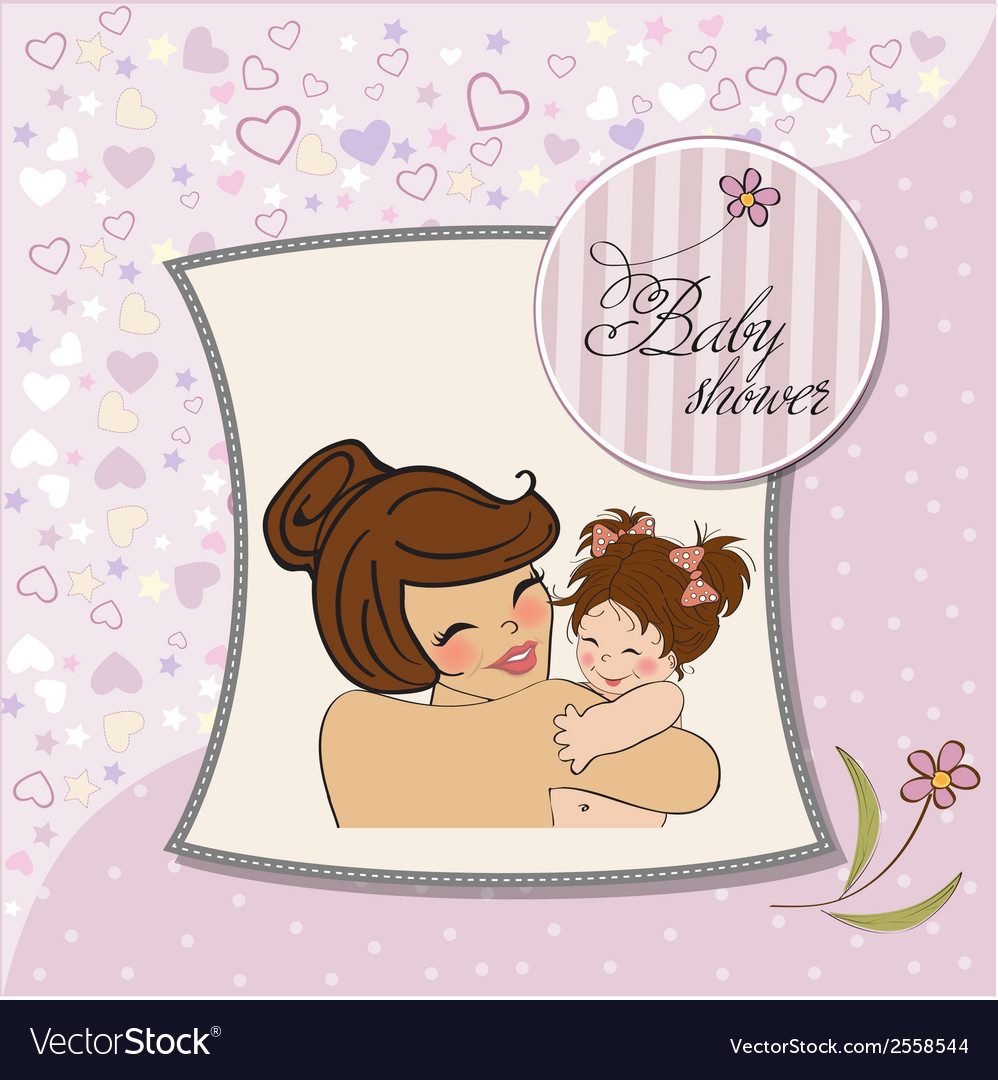 Young mother holding a new baby girl vector | Price: 1 Credit (USD $1)