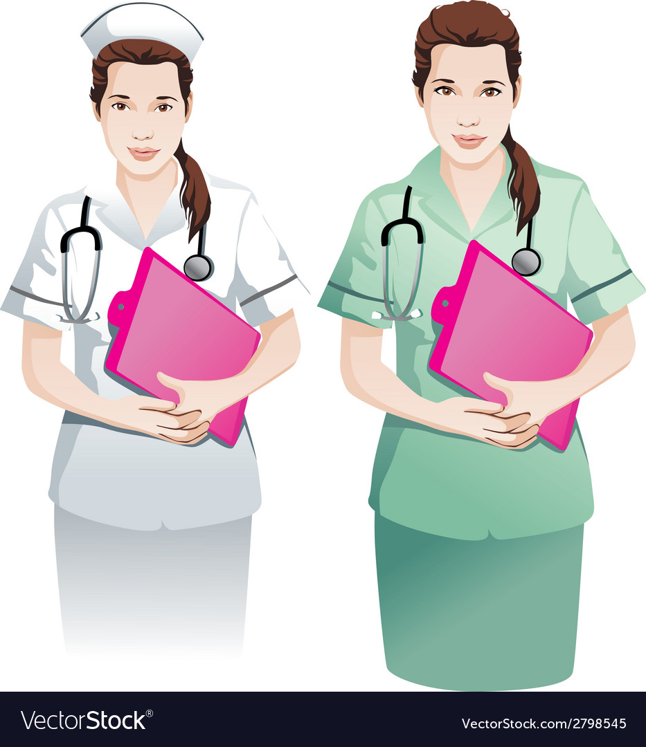 Beautiful nurse with clipboard vector | Price: 1 Credit (USD $1)