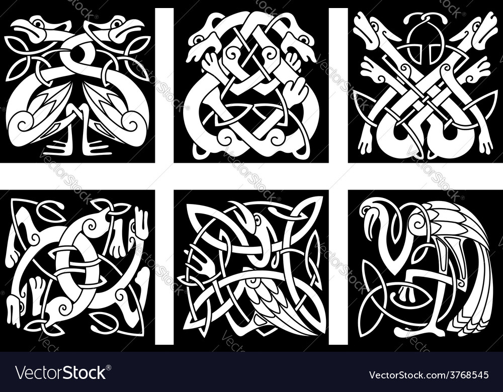 Birds and animals in celtic ornament vector