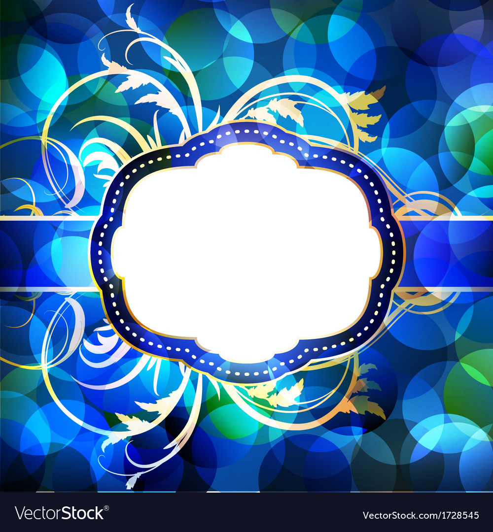 Blue flare lights background with vintage frame vector | Price: 1 Credit (USD $1)