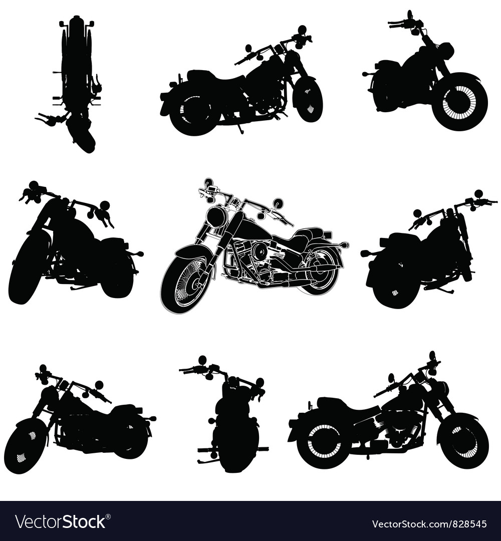 Chopper motorcycle silhouette vector | Price: 1 Credit (USD $1)
