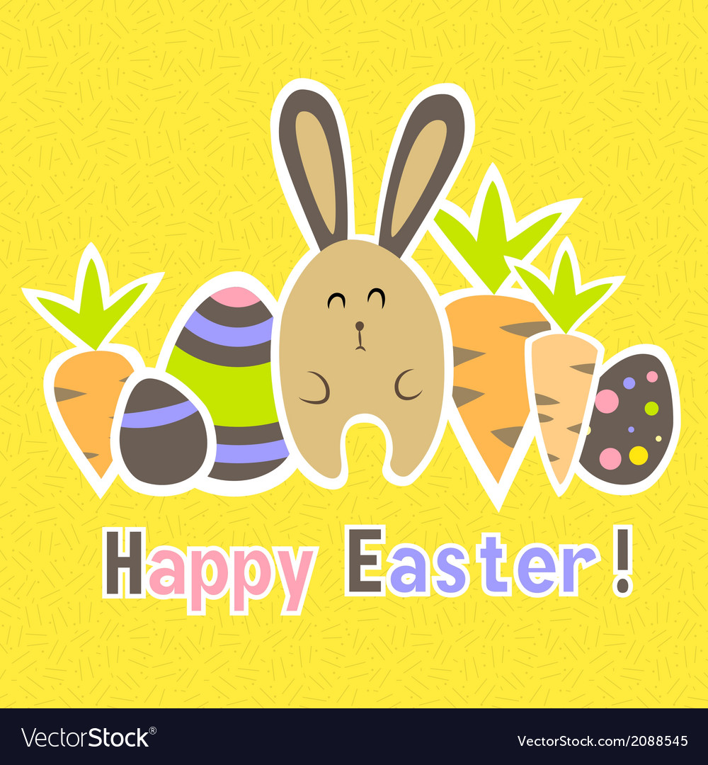 Easter colorful yellow card template vector | Price: 1 Credit (USD $1)