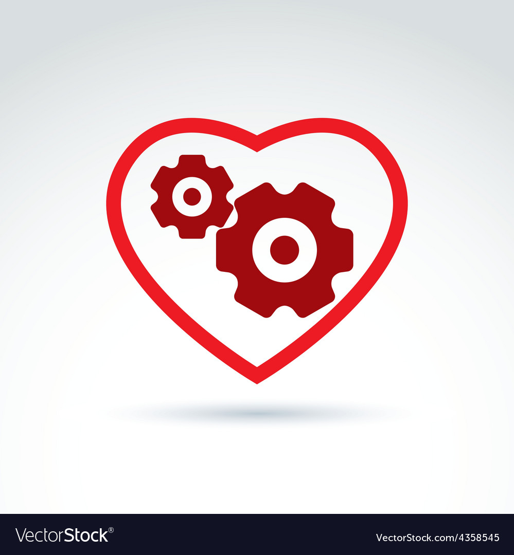 Gears and cogs in a shape of heart system theme vector | Price: 1 Credit (USD $1)