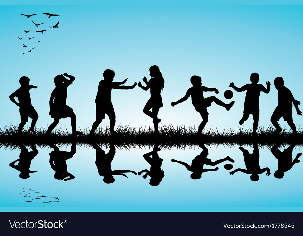 Group of children silhouettes playing outdoor near vector | Price: 1 Credit (USD $1)