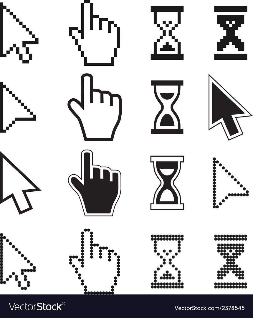 Pixel cursors icons mouse hand arrow hourglass vector | Price: 1 Credit (USD $1)