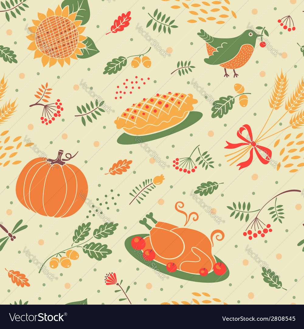 Seamless pattern with pumpkins leaves wheat and vector | Price: 1 Credit (USD $1)
