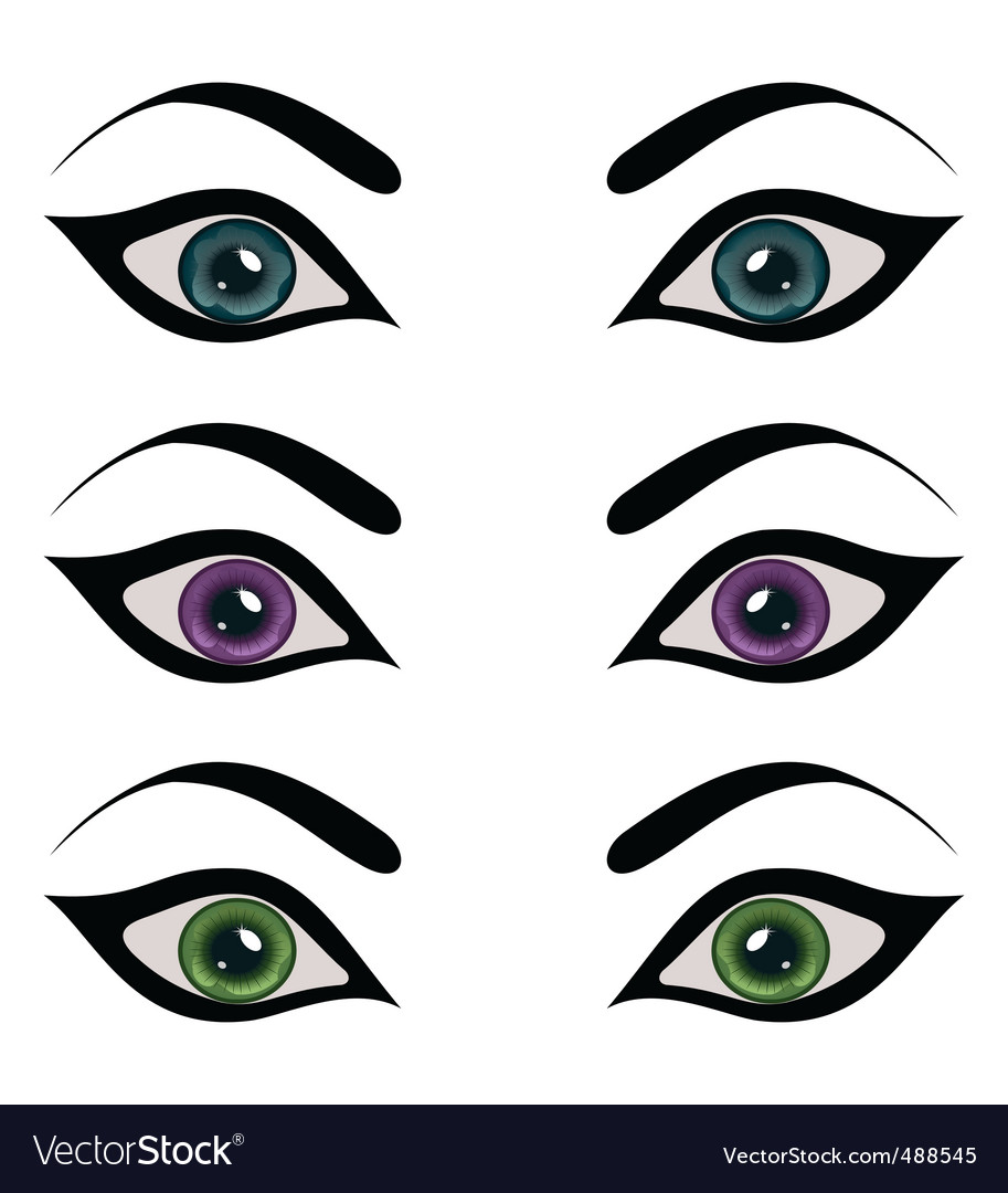 Set female eyes isolated vector | Price: 1 Credit (USD $1)
