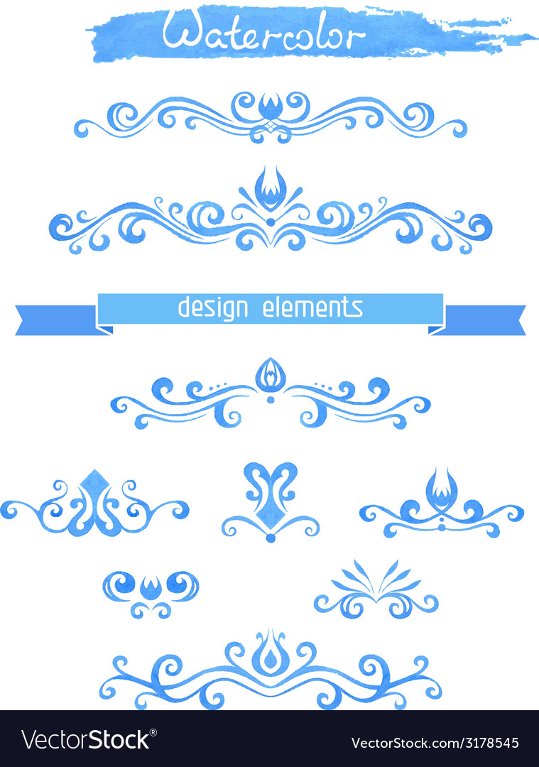 Set of vintage watercolor design elements vector | Price: 1 Credit (USD $1)