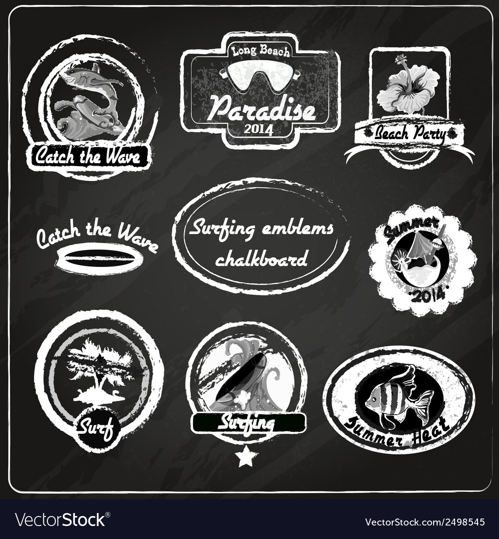 Surfing emblems chalkboard vector | Price: 1 Credit (USD $1)
