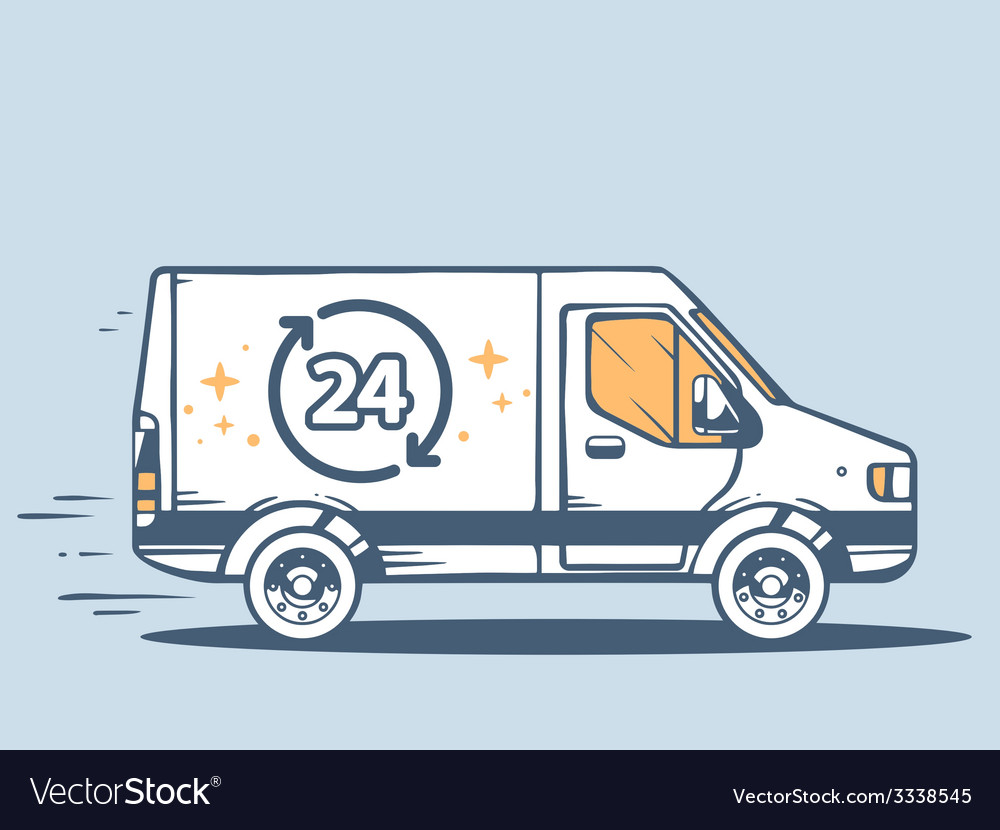 Van free and fast delivering 24 h to cust vector | Price: 1 Credit (USD $1)
