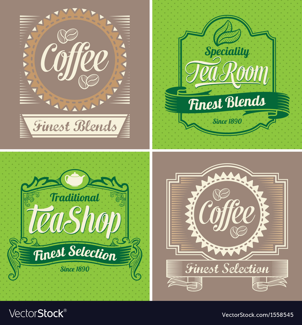 Vintage coffee and tea label design set vector | Price: 1 Credit (USD $1)