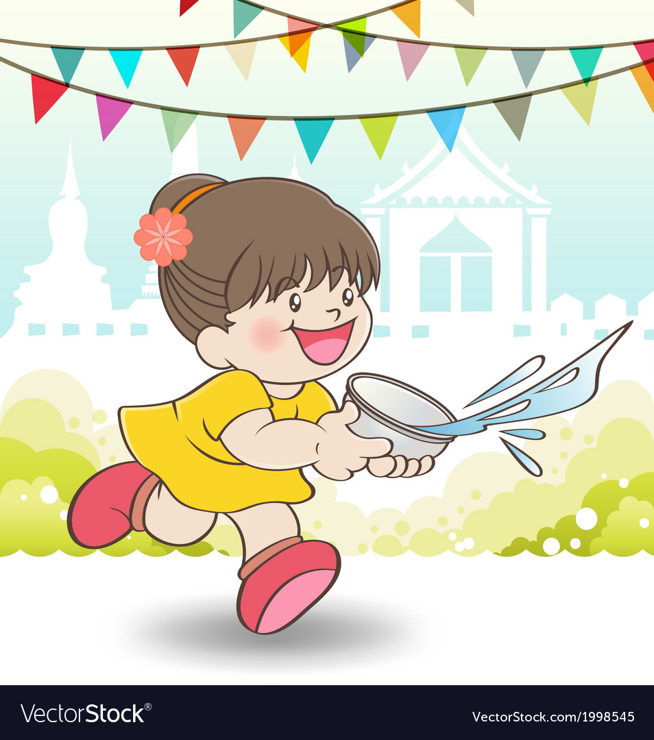 Young asian girl playing songkran festival vector | Price: 1 Credit (USD $1)