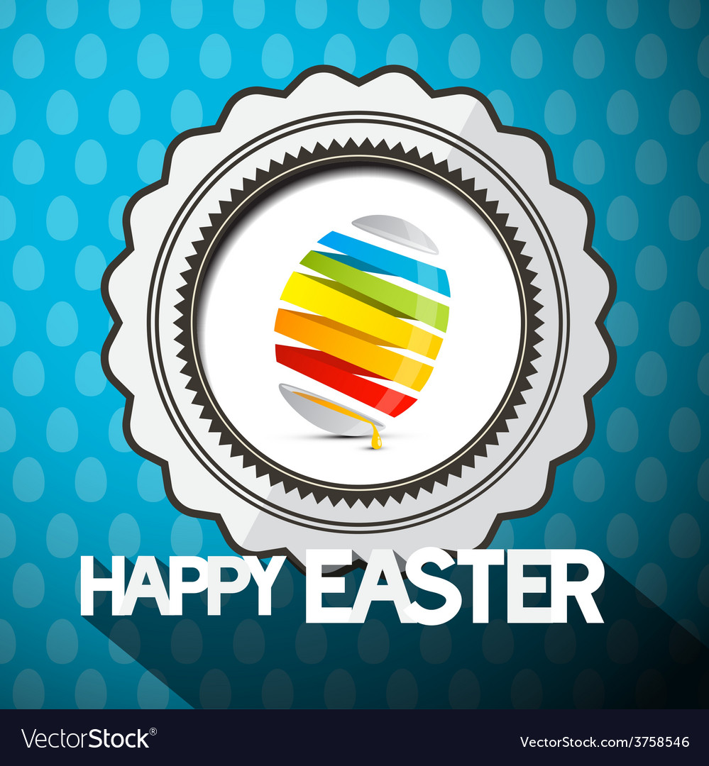 Blue happy easter with abstract colorful egg vector | Price: 1 Credit (USD $1)