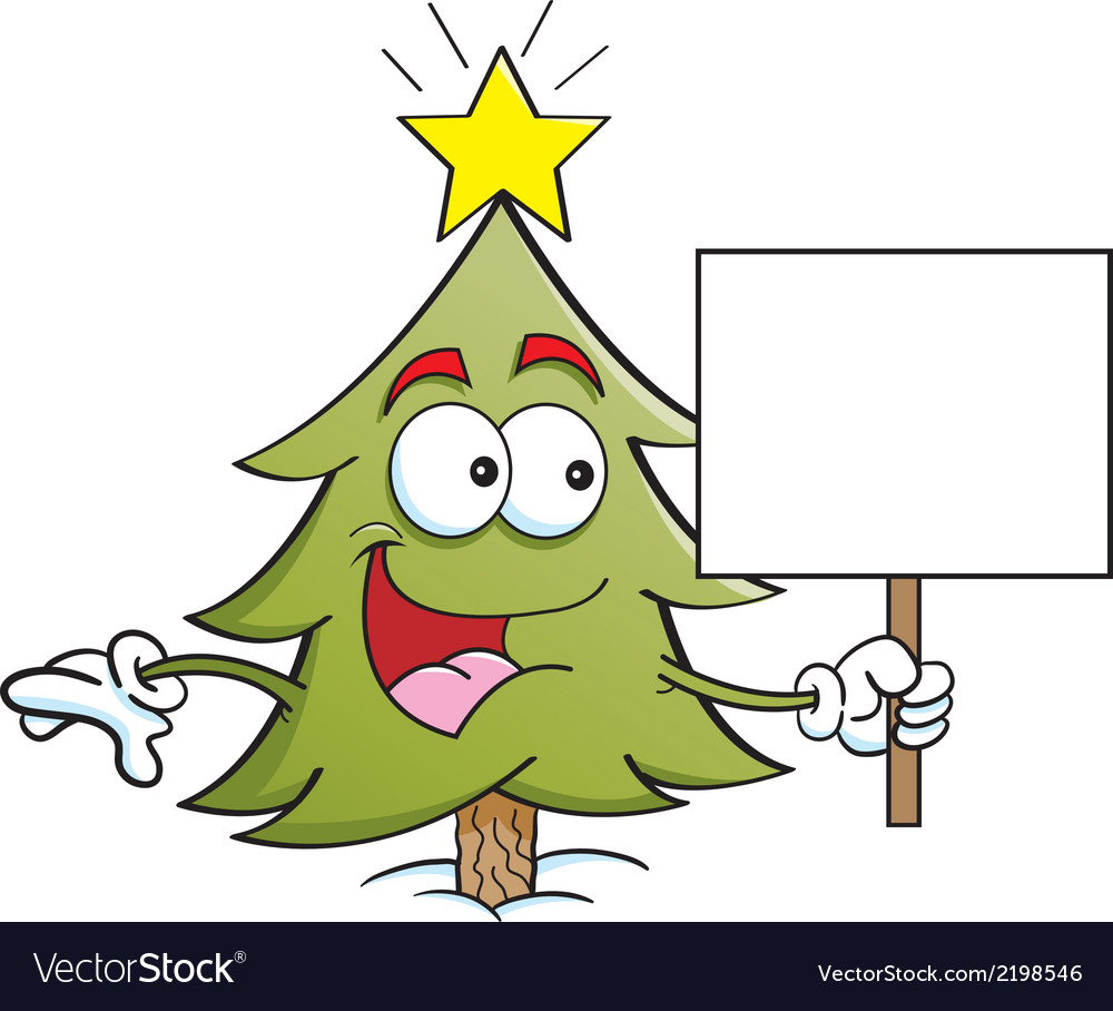 Cartoon pine tree holding a sign vector | Price: 1 Credit (USD $1)