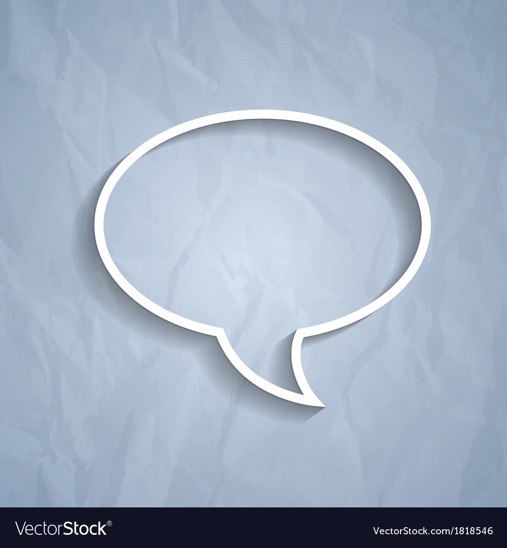 Chat bubble symbol on light grey paper background vector | Price: 1 Credit (USD $1)