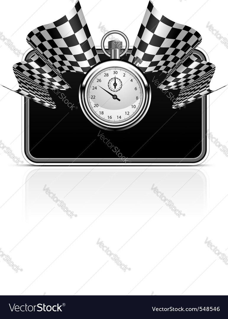 Checkered flag with a stopwatch background vector | Price: 3 Credit (USD $3)