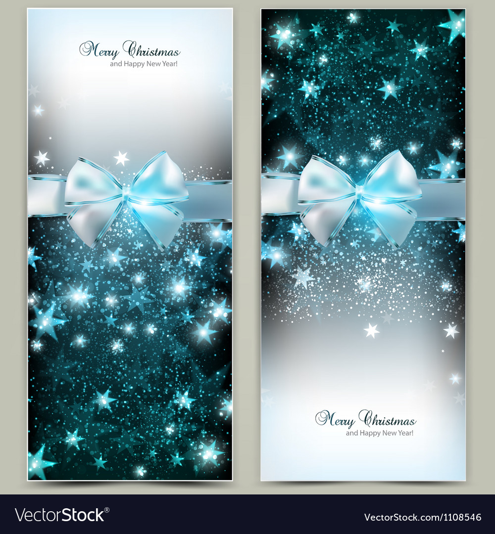 Elegant christmas greeting cards with blue bows vector | Price: 1 Credit (USD $1)