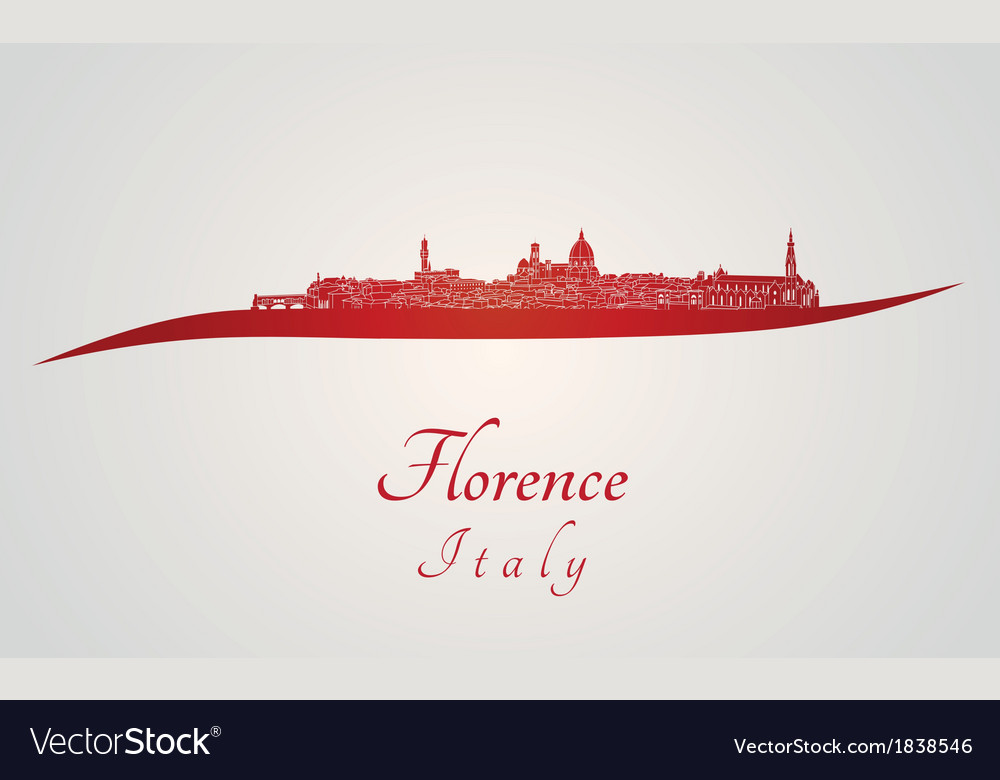 Florence skyline in red vector | Price: 1 Credit (USD $1)