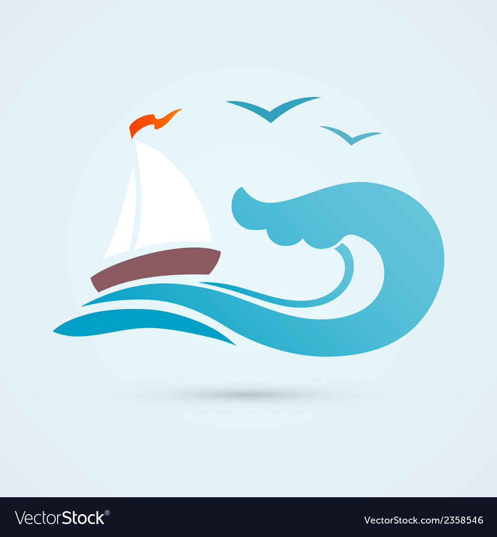 Sail ship wave icon vector | Price: 1 Credit (USD $1)