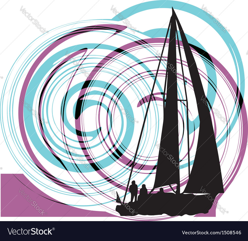 Sailing luxury yacht vector | Price: 1 Credit (USD $1)