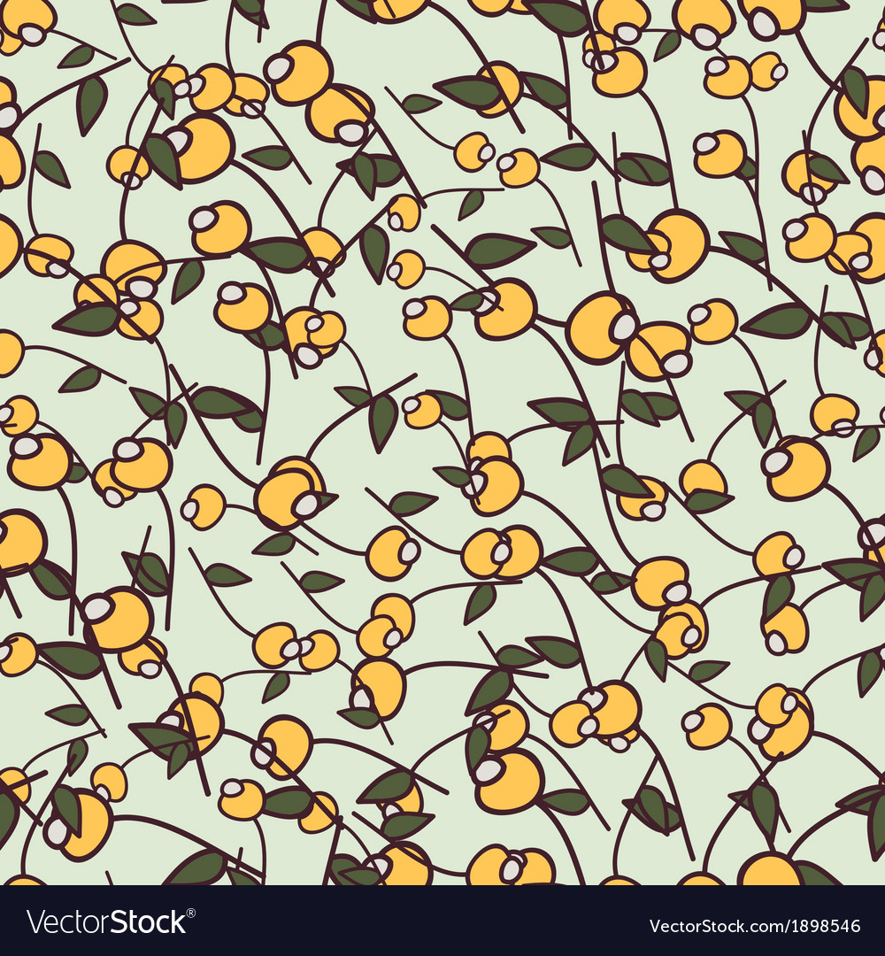 Yellow berry and green leaf vector | Price: 1 Credit (USD $1)
