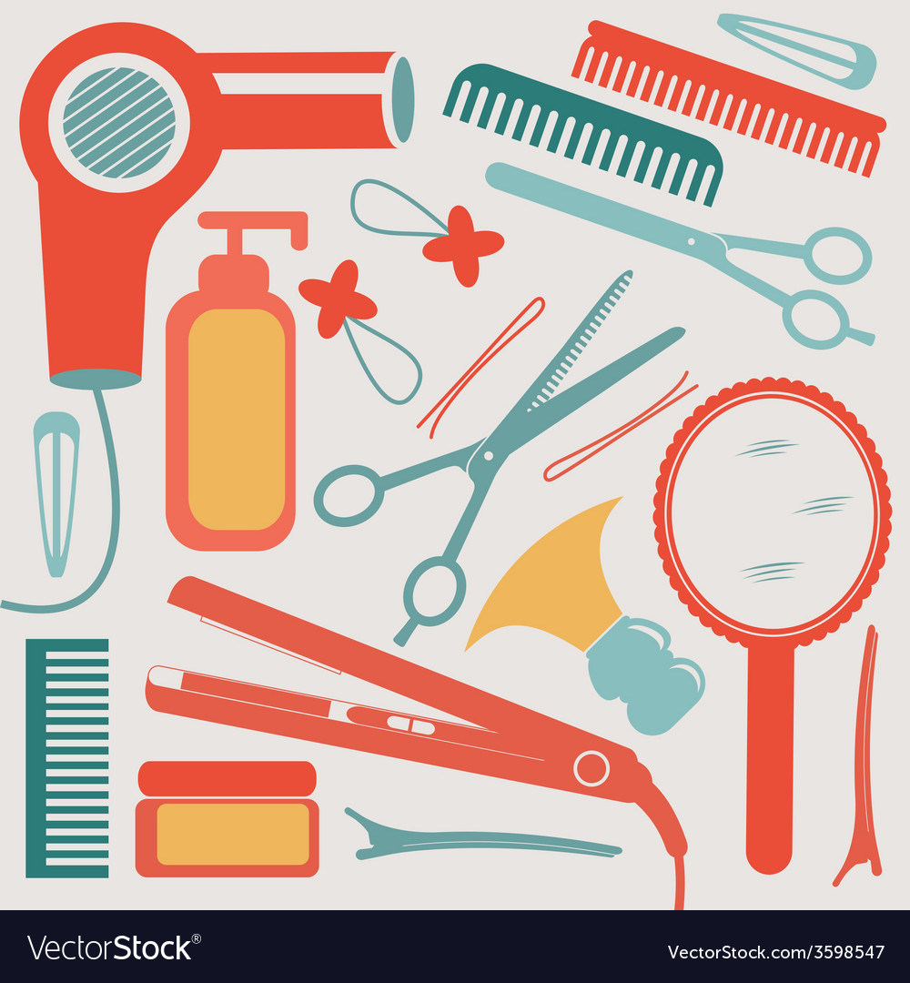 A colorful hairdressing equipment collection vector | Price: 1 Credit (USD $1)