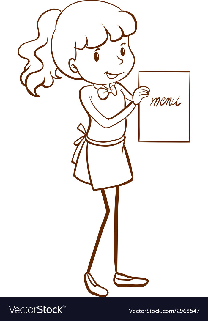 A sketch of a waitress vector | Price: 1 Credit (USD $1)