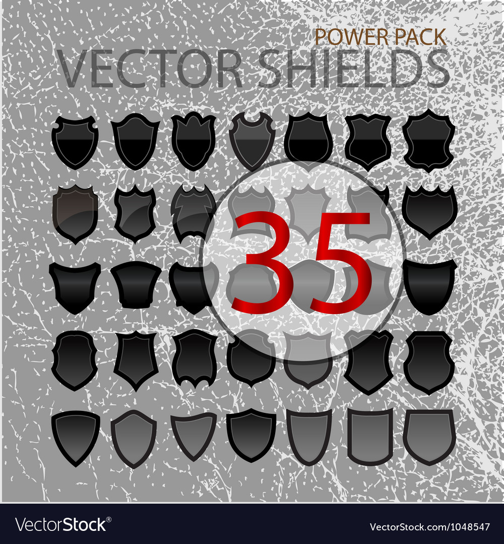 Abstract shields black forms set isolated vector | Price: 1 Credit (USD $1)
