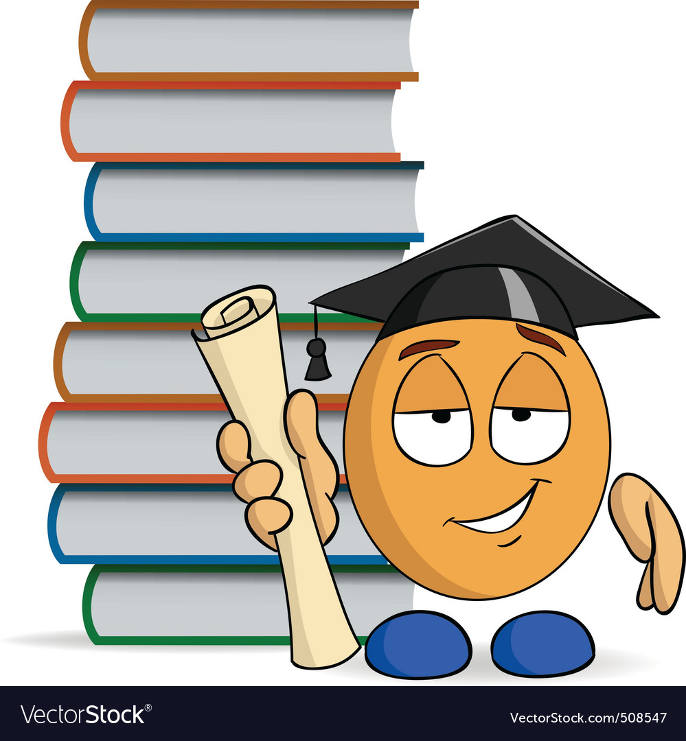 Cartoon character graduation with books vector | Price: 1 Credit (USD $1)