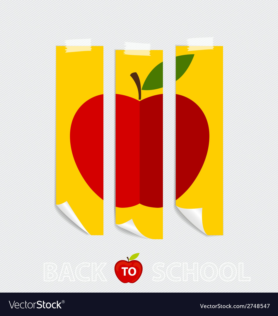 Cute note papers with red apple welcome back to vector | Price: 1 Credit (USD $1)