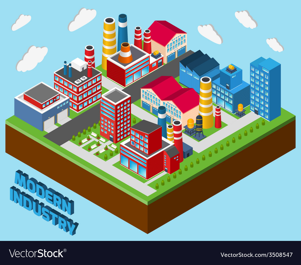 Industrial buildings isometric vector | Price: 1 Credit (USD $1)