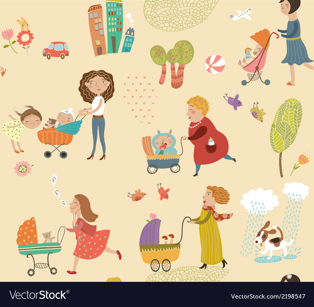 Pattern with moms and babies vector | Price: 1 Credit (USD $1)