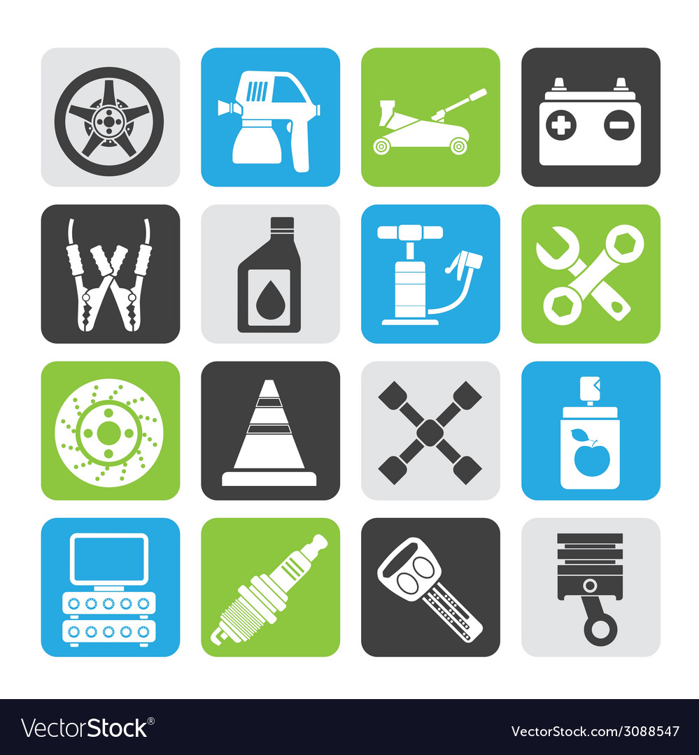 Silhouette transportation and car repair icons vector | Price: 1 Credit (USD $1)
