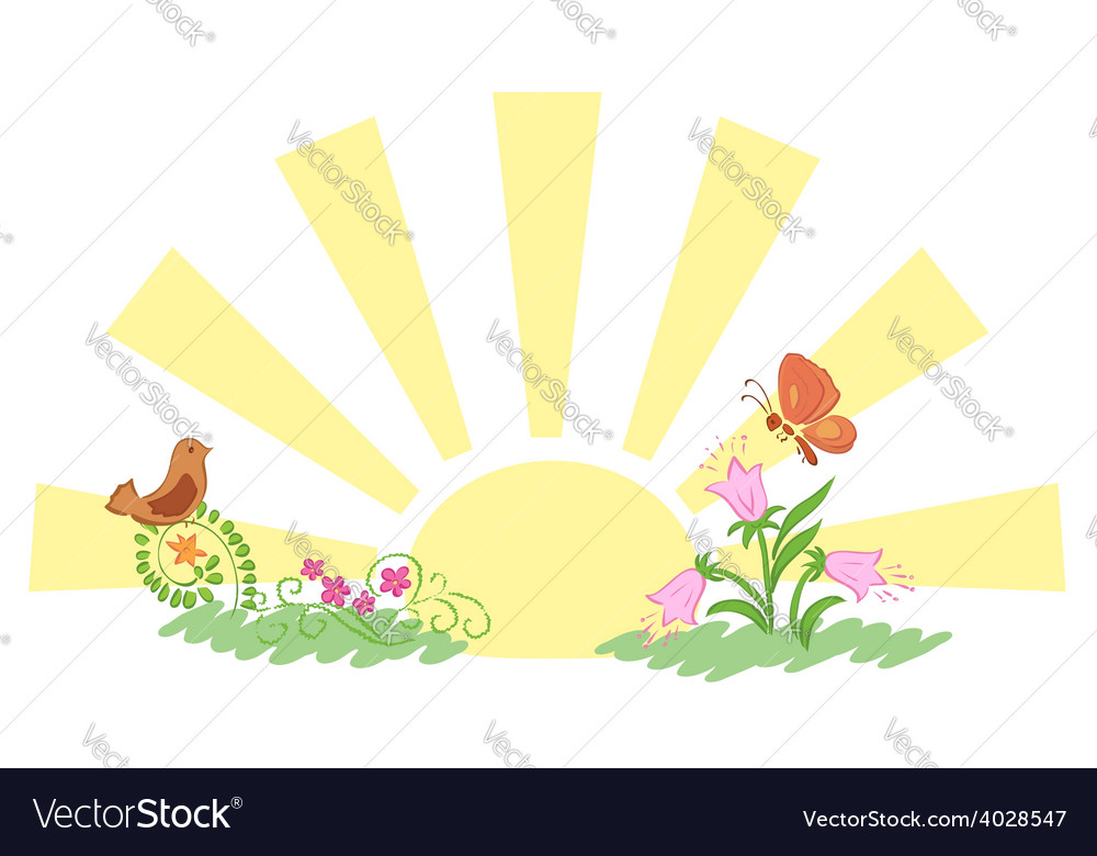 Sunrise and summer nature vector | Price: 1 Credit (USD $1)