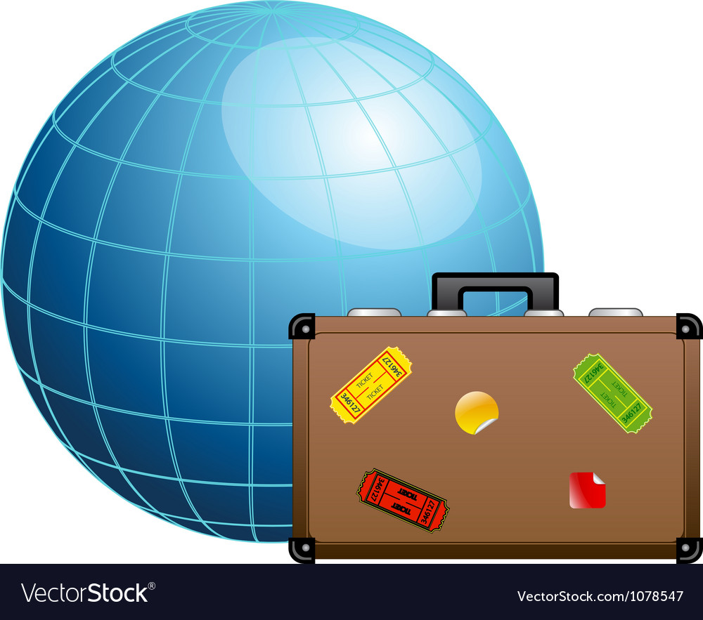 Travel concept blue globe and travel suitcase vector | Price: 1 Credit (USD $1)