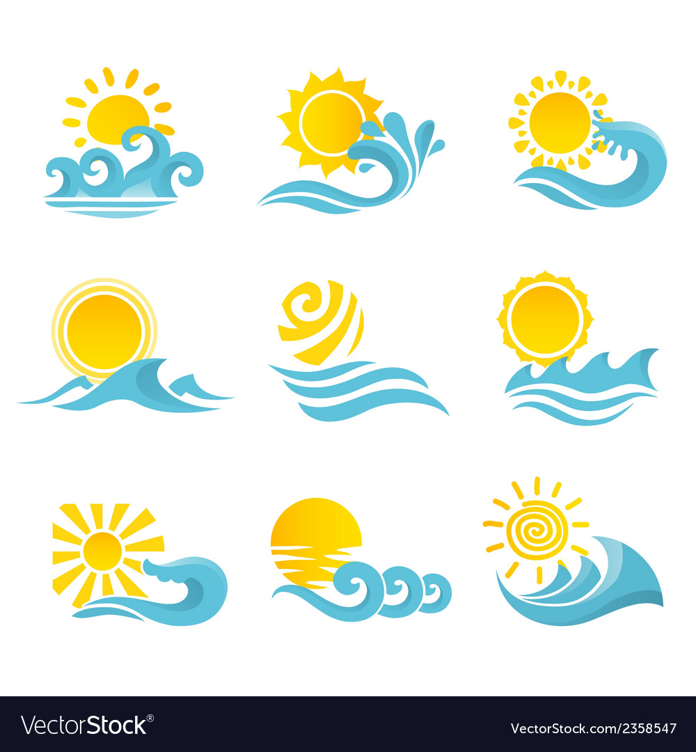 Waves sun icons set vector | Price: 1 Credit (USD $1)