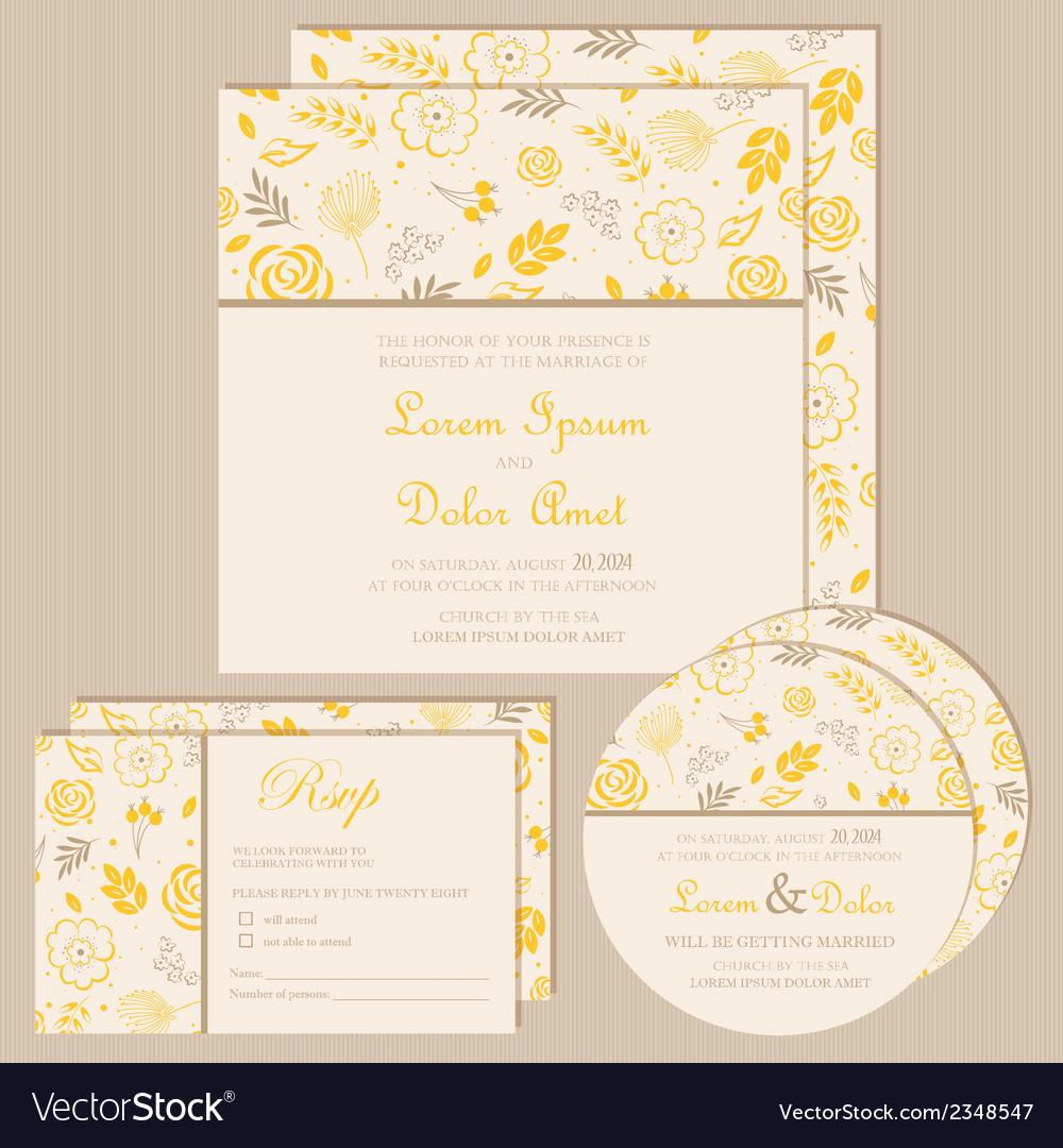 Wedding invitation set yellow vector | Price: 1 Credit (USD $1)