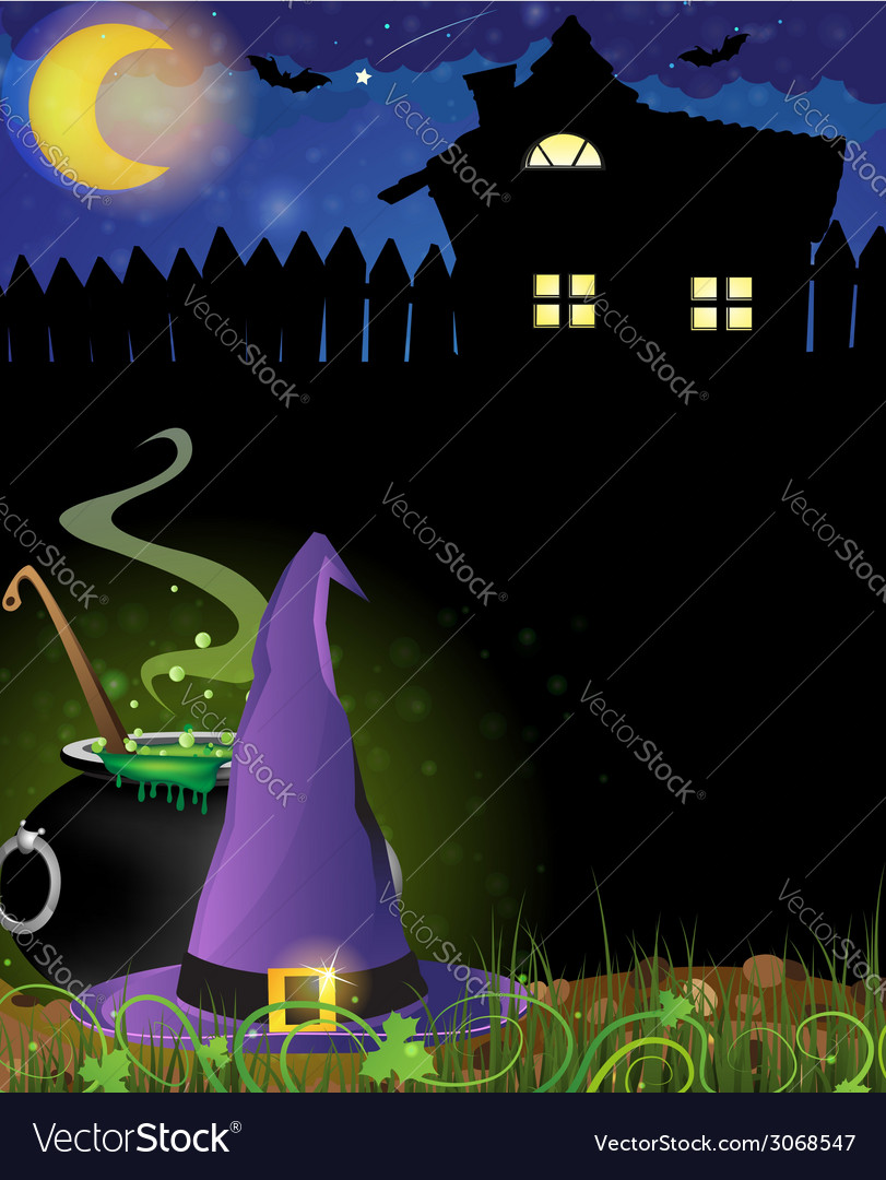Witch hat and boiling cauldron near the house with vector | Price: 3 Credit (USD $3)