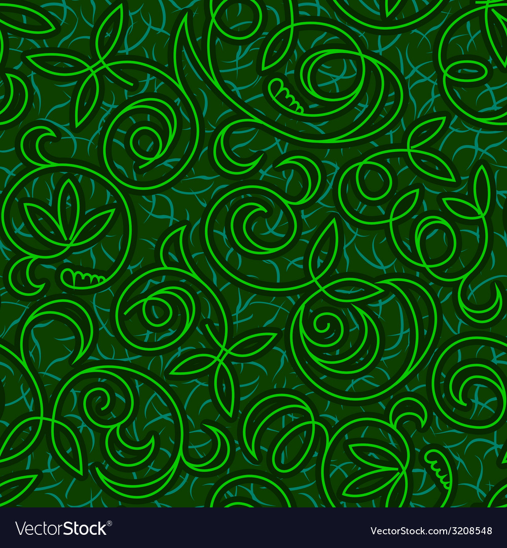 Abstract floral green seamless background vector | Price: 1 Credit (USD $1)