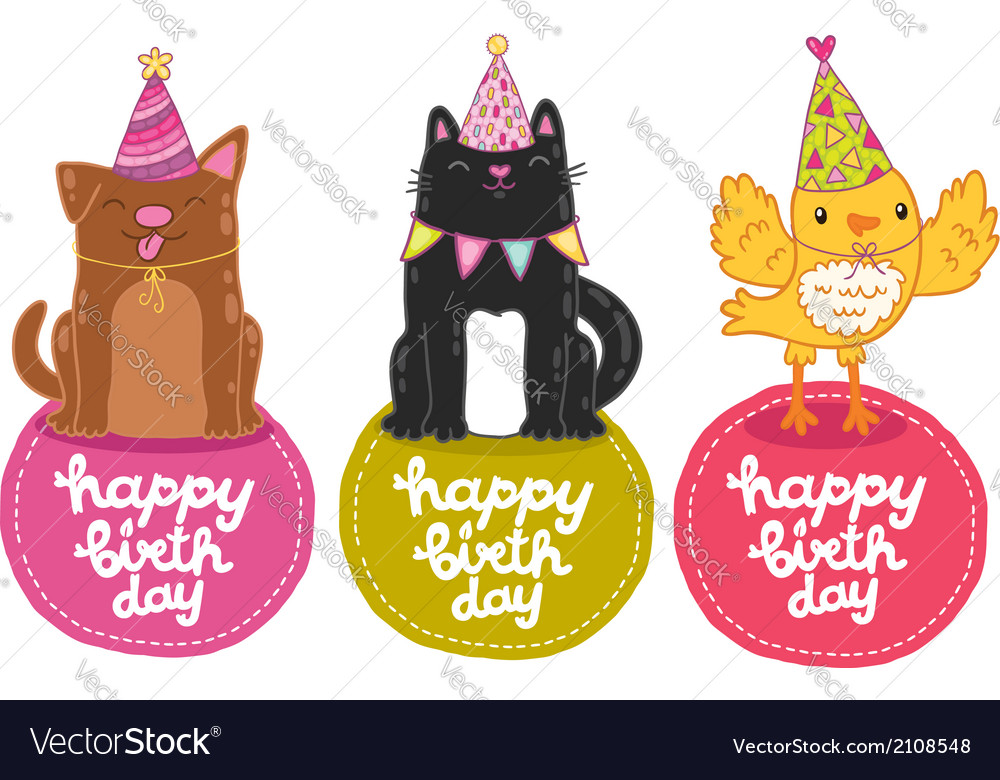 Happy birthday labels with cat dog and bird vector | Price: 1 Credit (USD $1)
