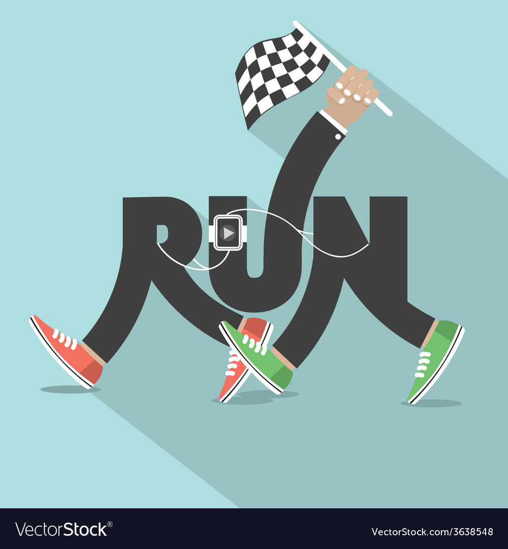 Run with legs typography design vector | Price: 1 Credit (USD $1)