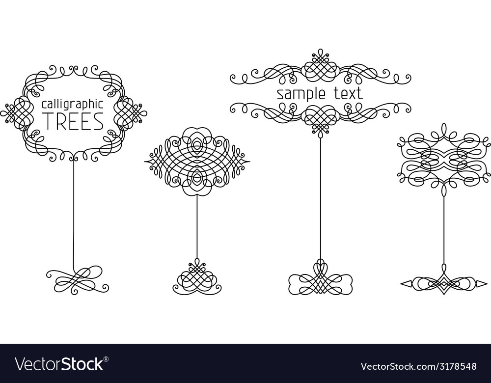 Set of calligraphic trees vector | Price: 1 Credit (USD $1)