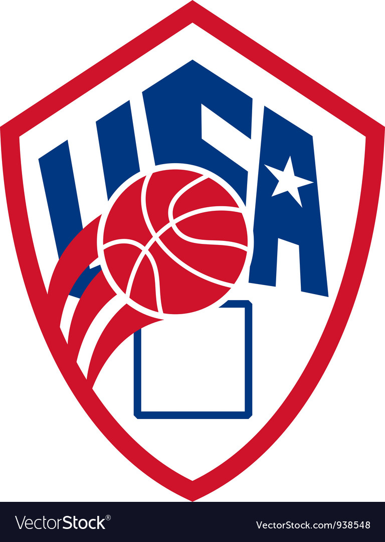 United states usa american basketball ball shield vector | Price: 1 Credit (USD $1)