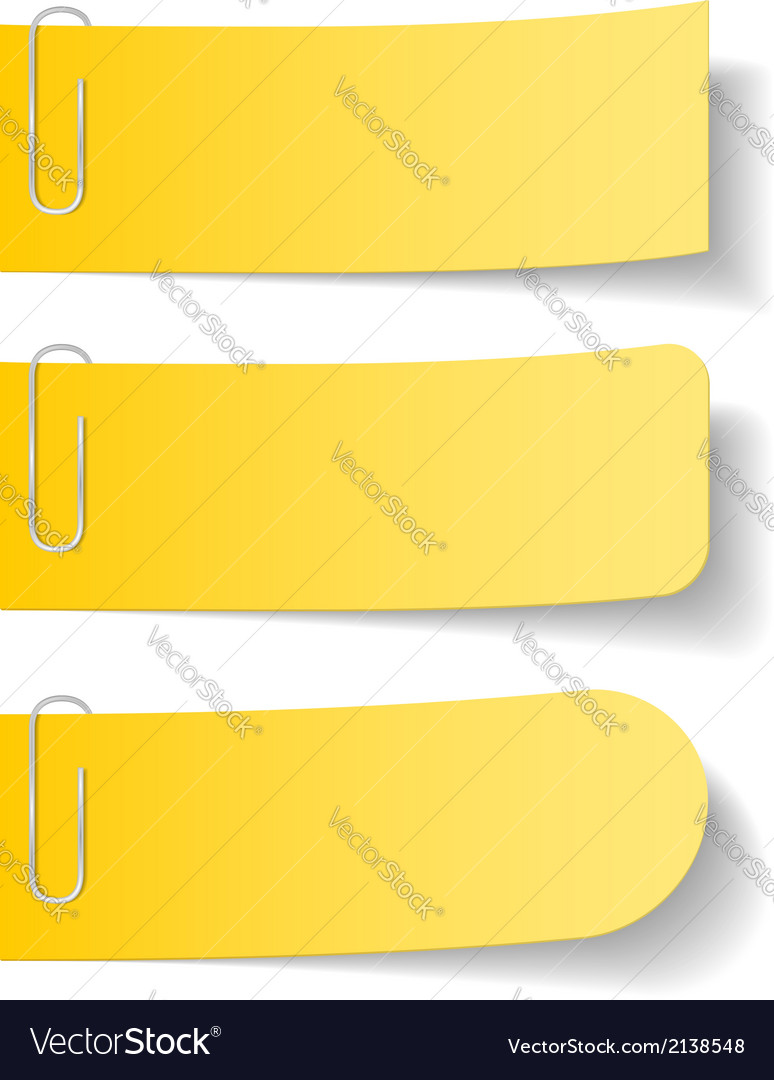 Yellow paper notes with clips vector | Price: 1 Credit (USD $1)