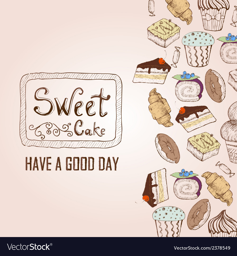 Background with cakes decorative sketch vector | Price: 1 Credit (USD $1)
