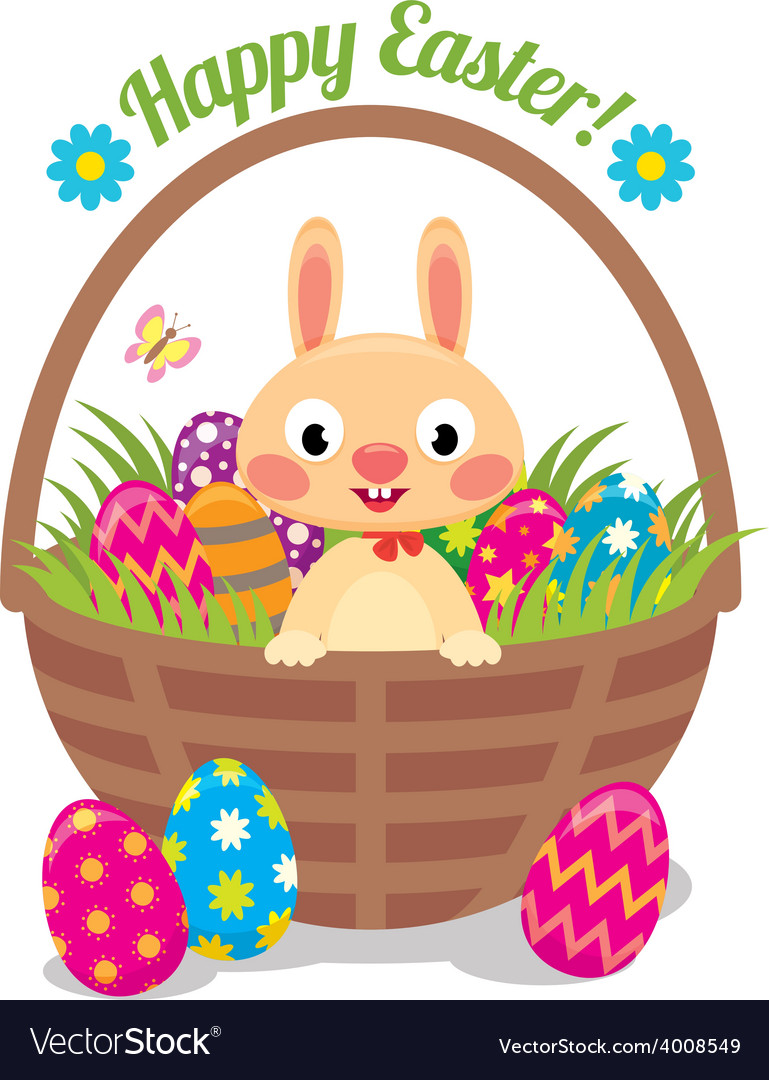 Easter bunny in a basket with eggs vector | Price: 1 Credit (USD $1)