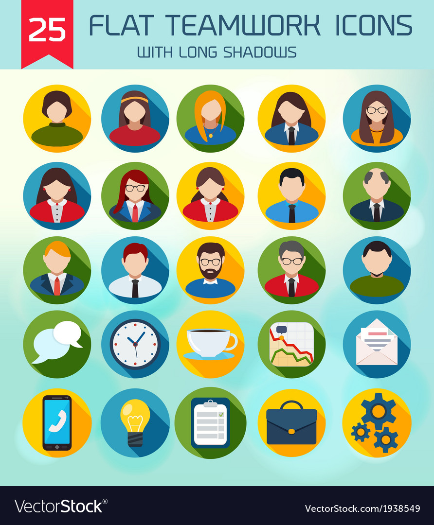Flat business teamwork icons set without vector | Price: 1 Credit (USD $1)