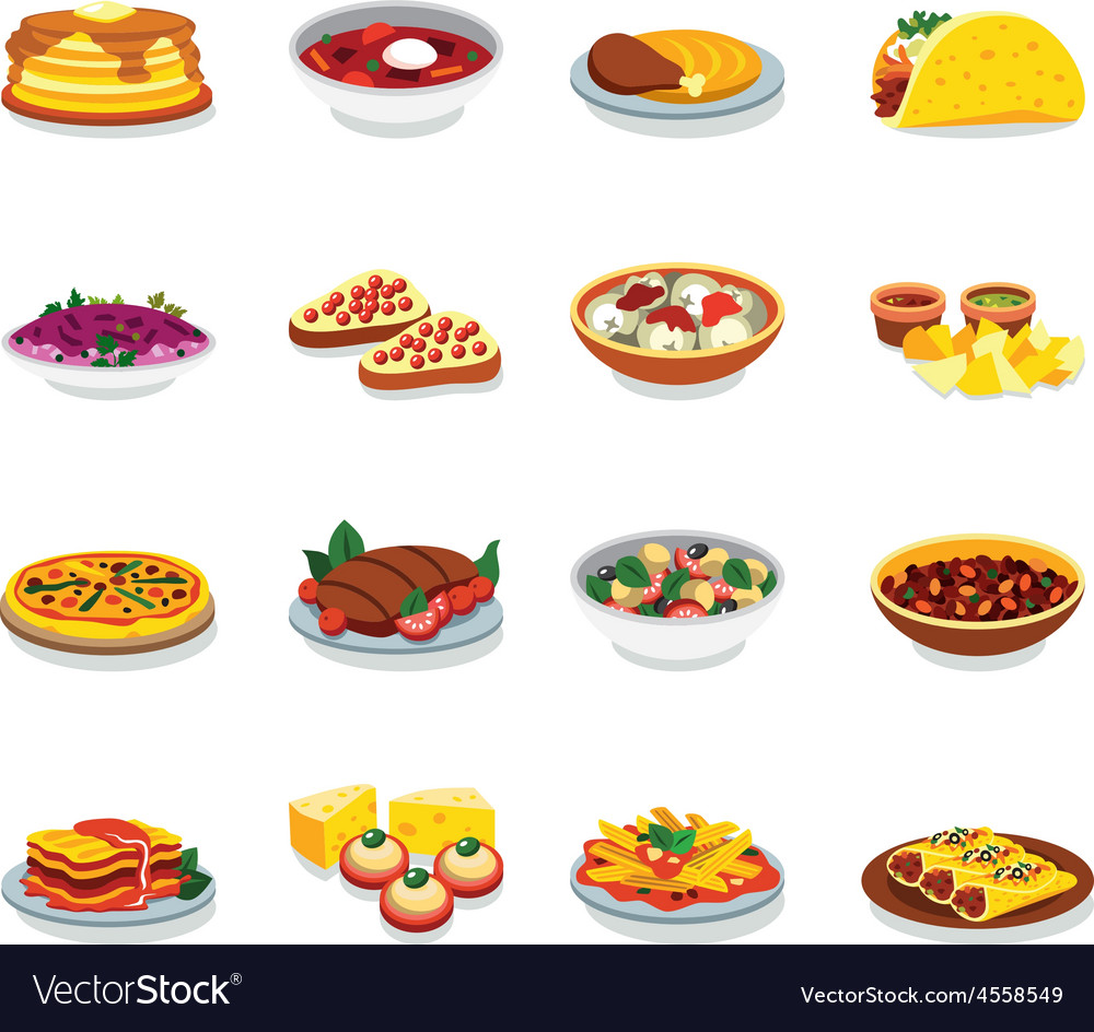 Flat design icons food vector   Price: 1 Credit (USD $1)
