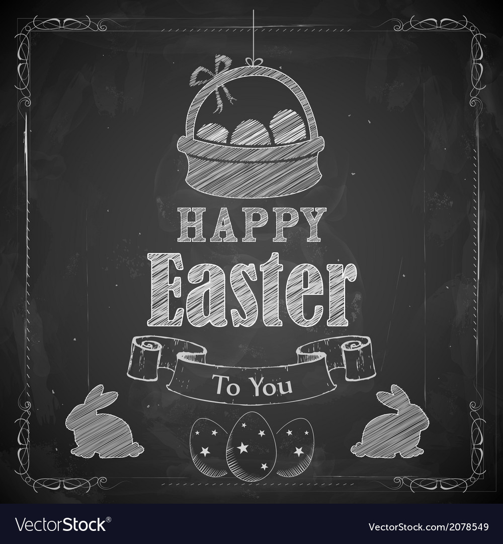 Happy easter on chalkboard vector | Price: 1 Credit (USD $1)